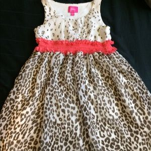 Leopard print dress by Pinky with salmon trim